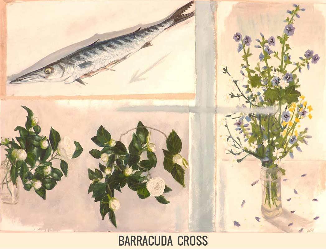 Barracuda cross, Orson Buch's oil on canvas