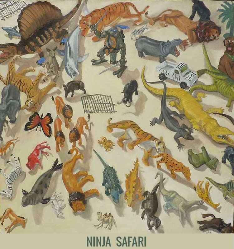Ninja safari, Orson Buch's oil on canvas