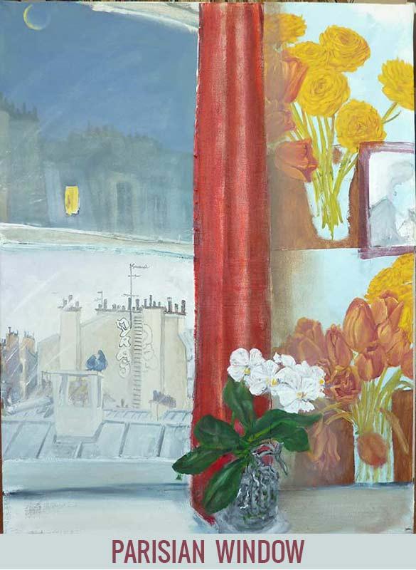 Parisian window, Orson Buch's oil on canvas