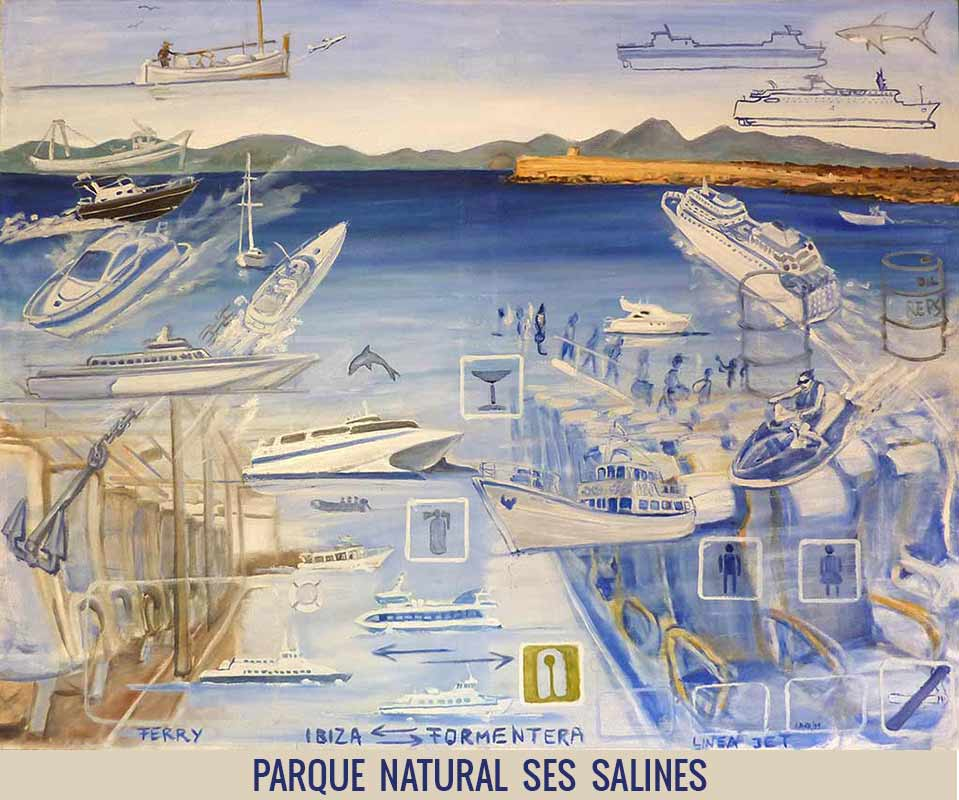 Parque natural ses salines, Orson Buch's oil on canvas