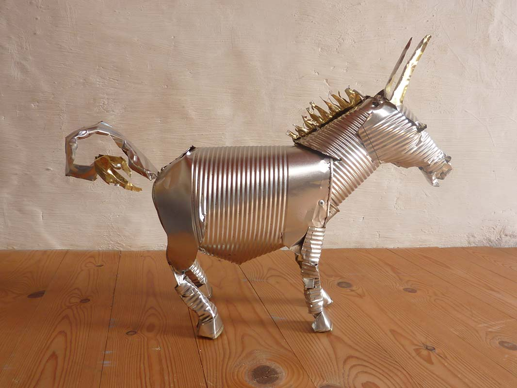 Donkey - Orson Buch tin can sculpture