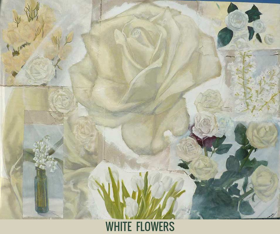 White flowers, Orson Buch's oil on canvas