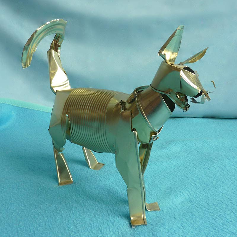 Golden cat - Orson Buch tin can sculpture