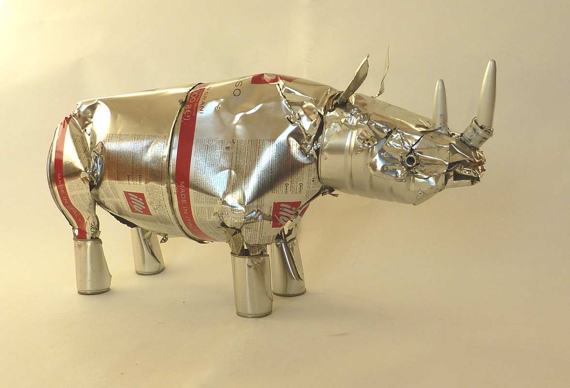 Rhino - Orson Buch tin can sculpture