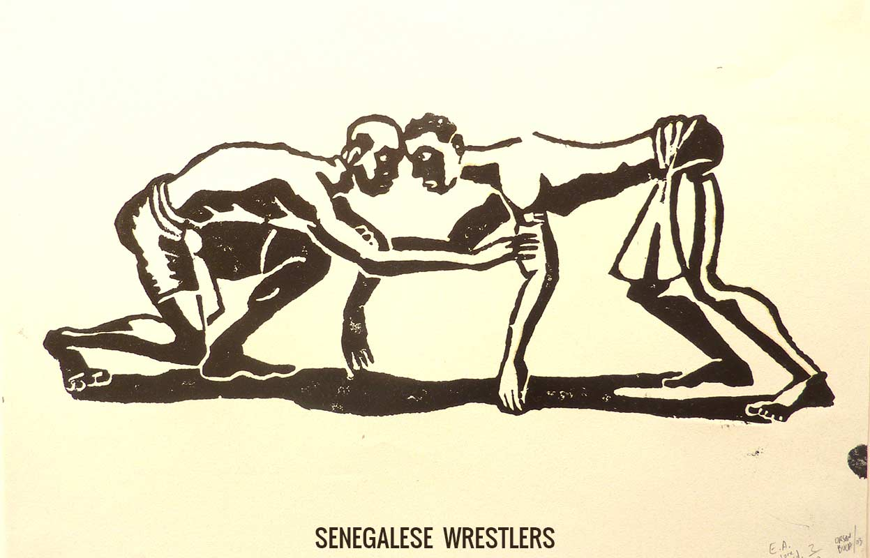 Woodcut of Senegalese Wrestlers - Orson Buch