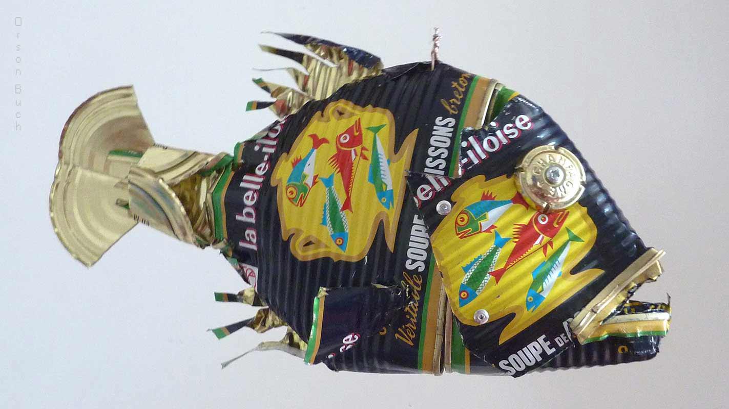 Deep sea fish Orson Buch's tin can sculpture