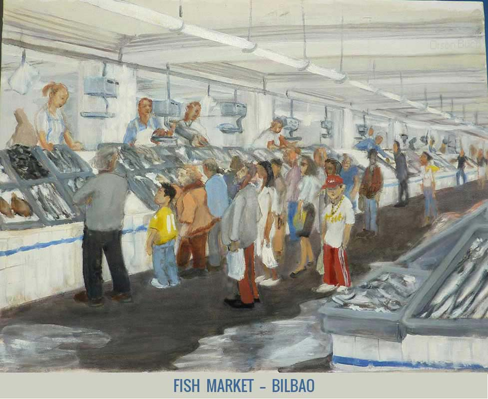Fish market - Bilbao, Orson Buch's oil on canvas Oil on canvas