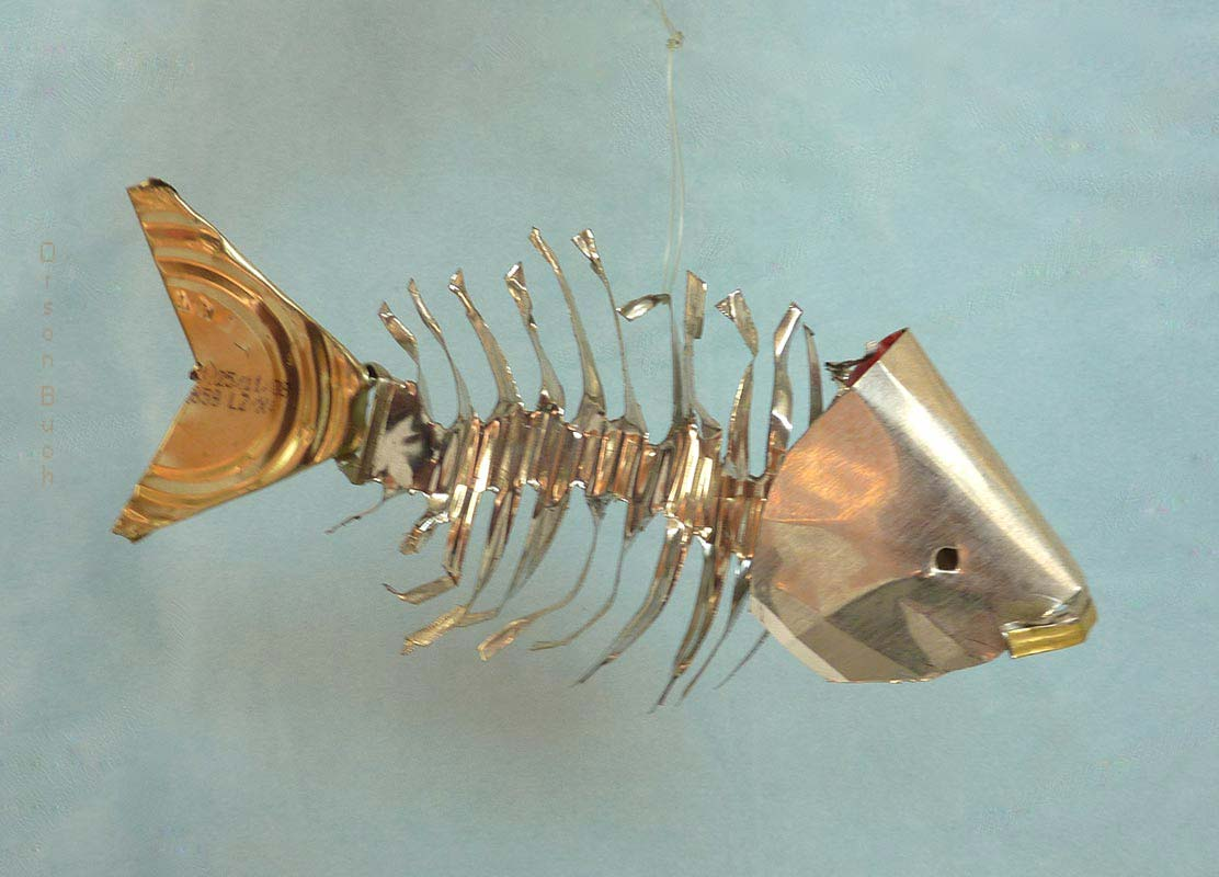 Fishbone Orson Buch's tin can sculpture