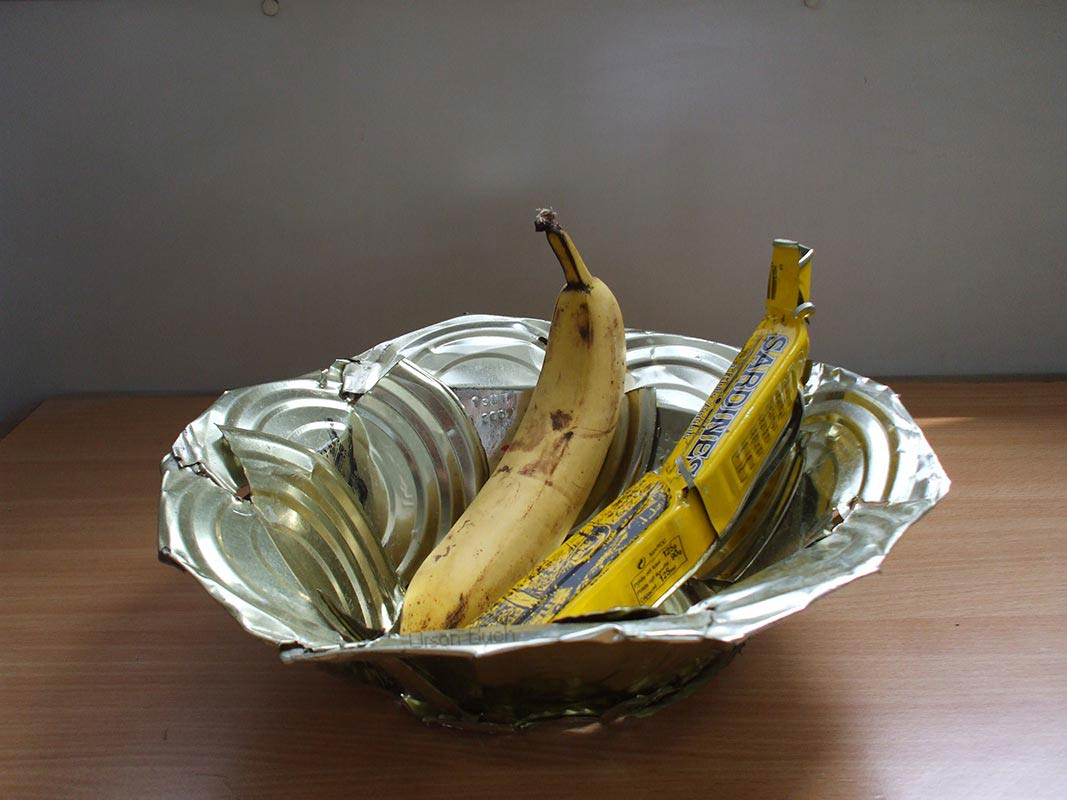 Fruit bowl Orson Buch's tin can sculpture