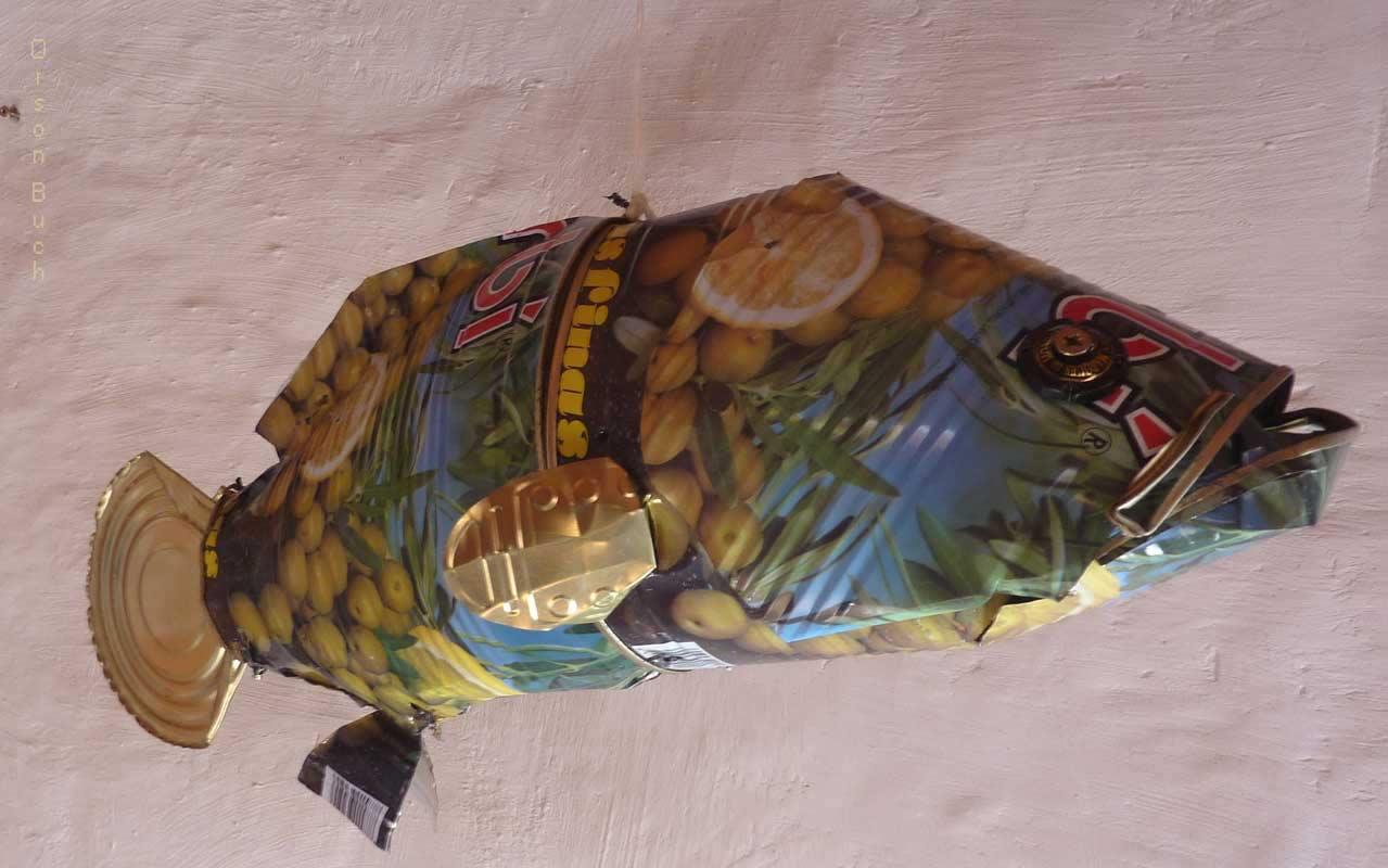Grouper Orson Buch's tin can sculpture