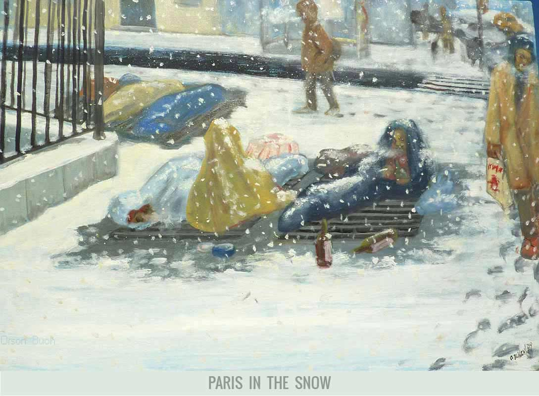 Paris in the snow, Orson Buch's oil on canvas