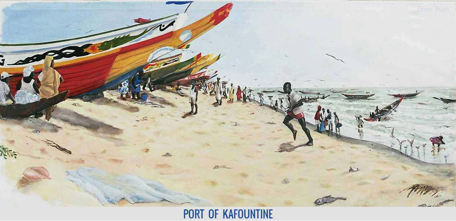 Port of Kafountine, Orson Buch's oil on canvas