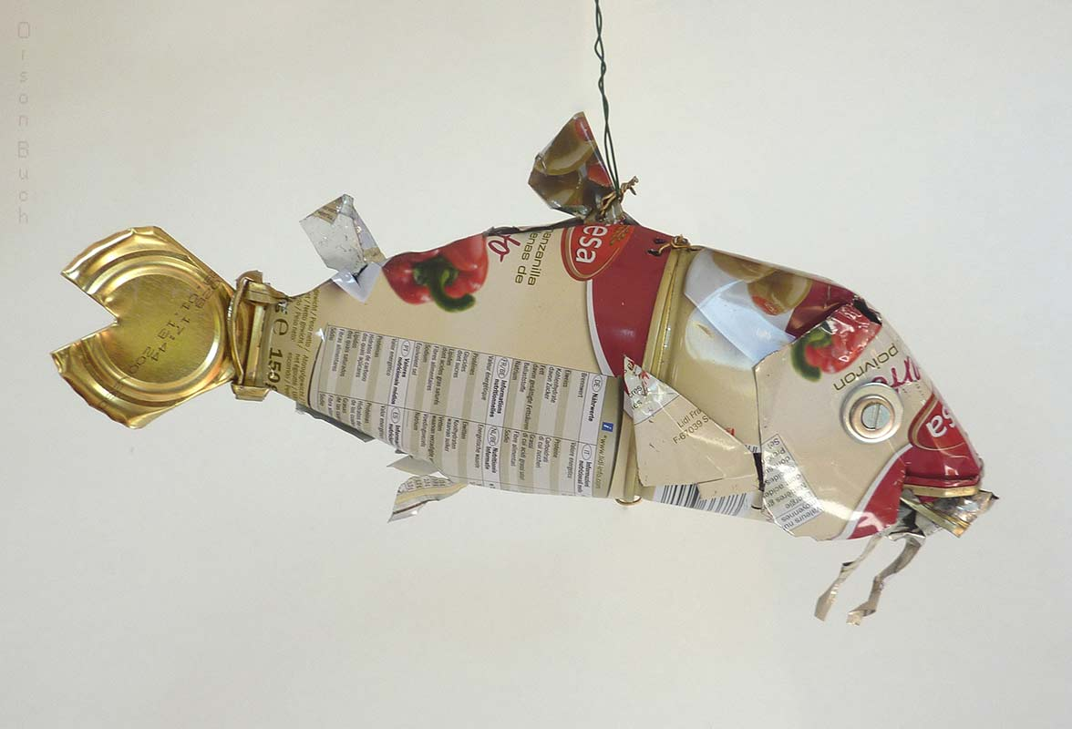 Red mullet Orson Buch's tin can sculpture