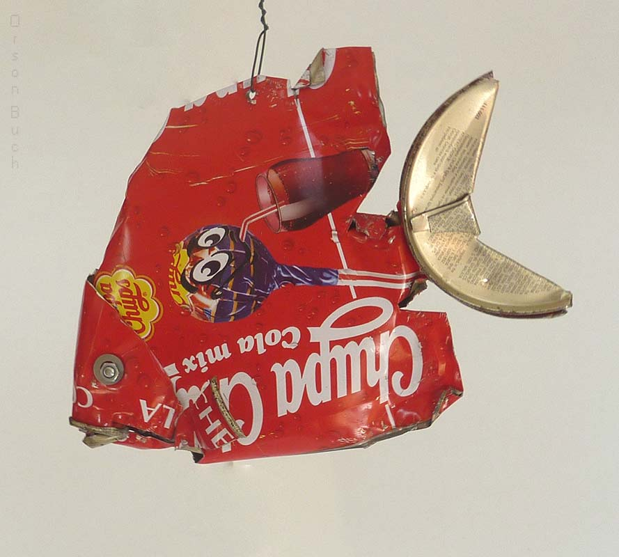 Red tropical fish Orson Buch's tin can sculpture