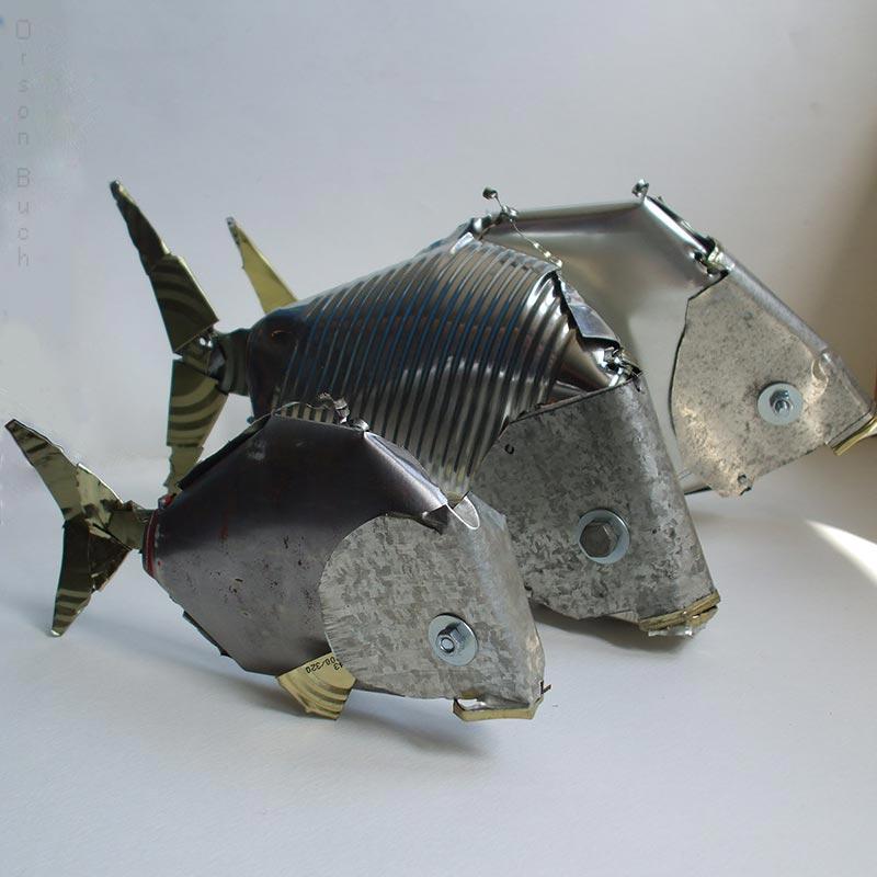 Sea breams Orson Buch's tin can sculpture