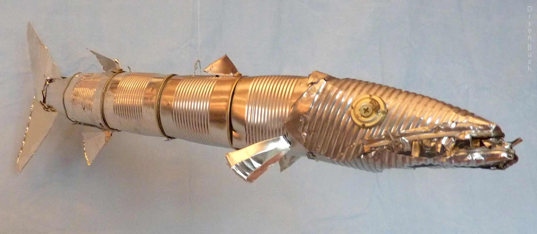 Silver barracuda Orson Buch's tin can sculpture