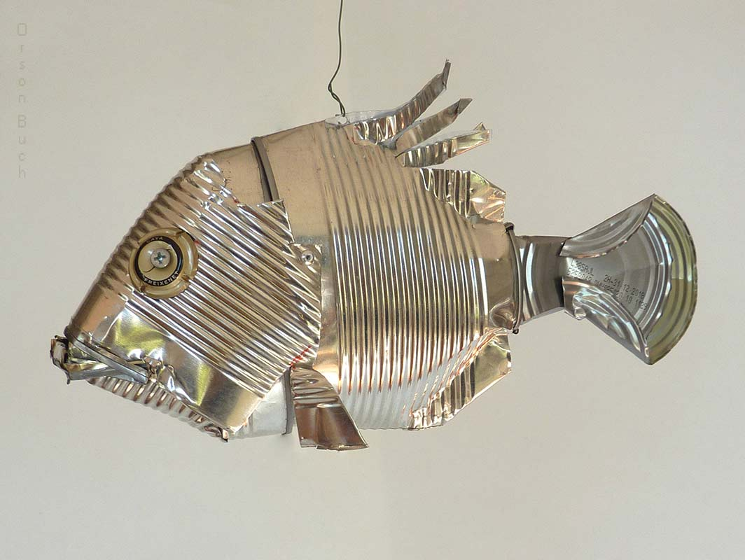 Silver deep sea fish Orson Buch's tin can sculpture