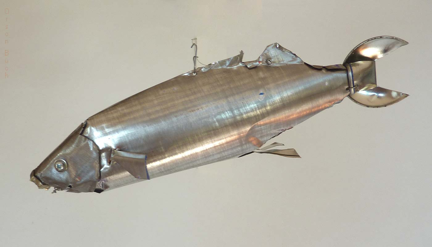 Silver mullet Orson Buch's tin can sculpture