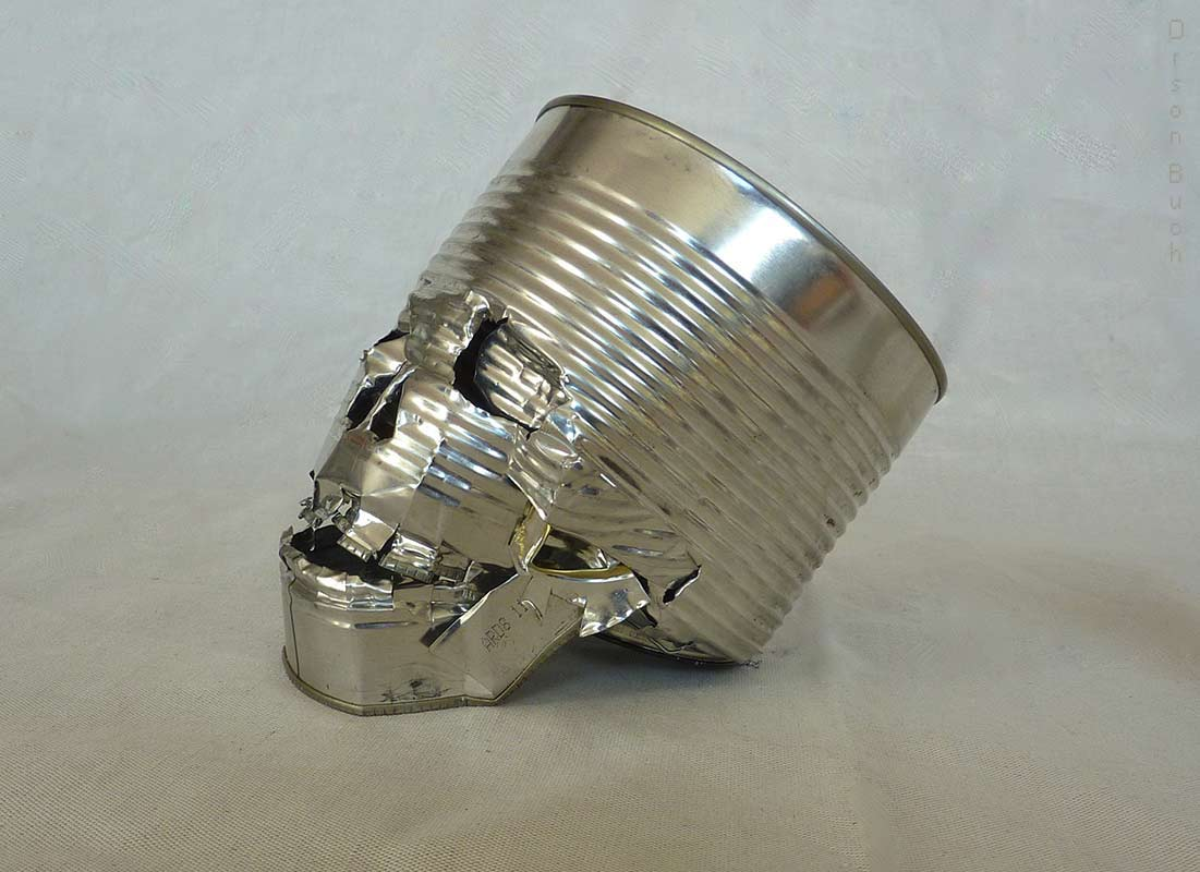 Skull Orson Buch's tin can art