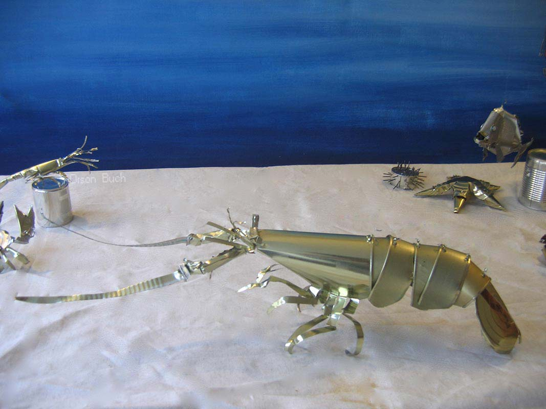 Spiny lobster Orson Buch's tin can sculpture