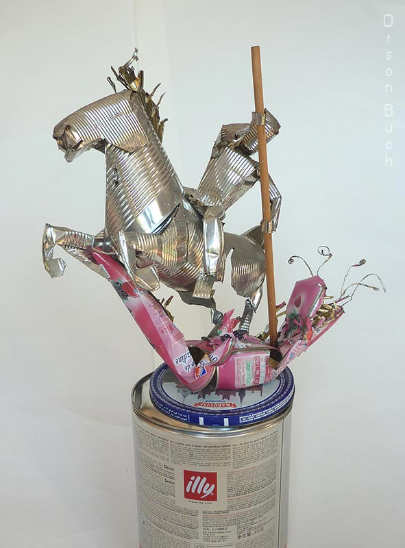 Saint George and the dragon, Orson Buch's tin can sculpture