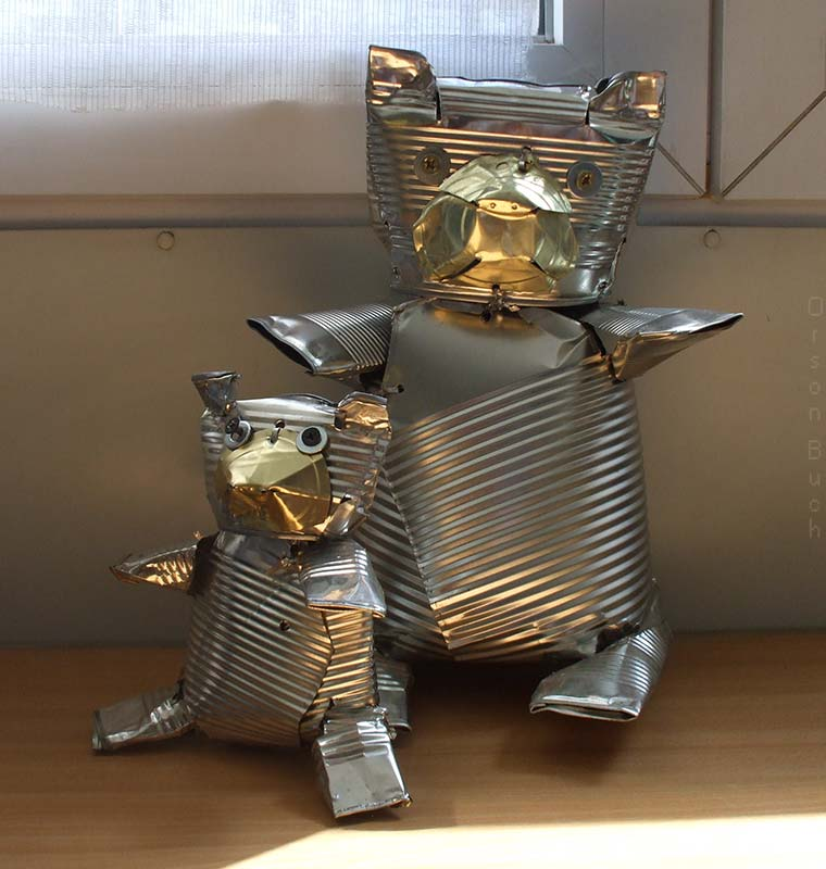 Teddy bears Orson Buch's tin can art