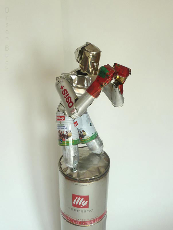 The boxer, Orson Buch's tin can statue