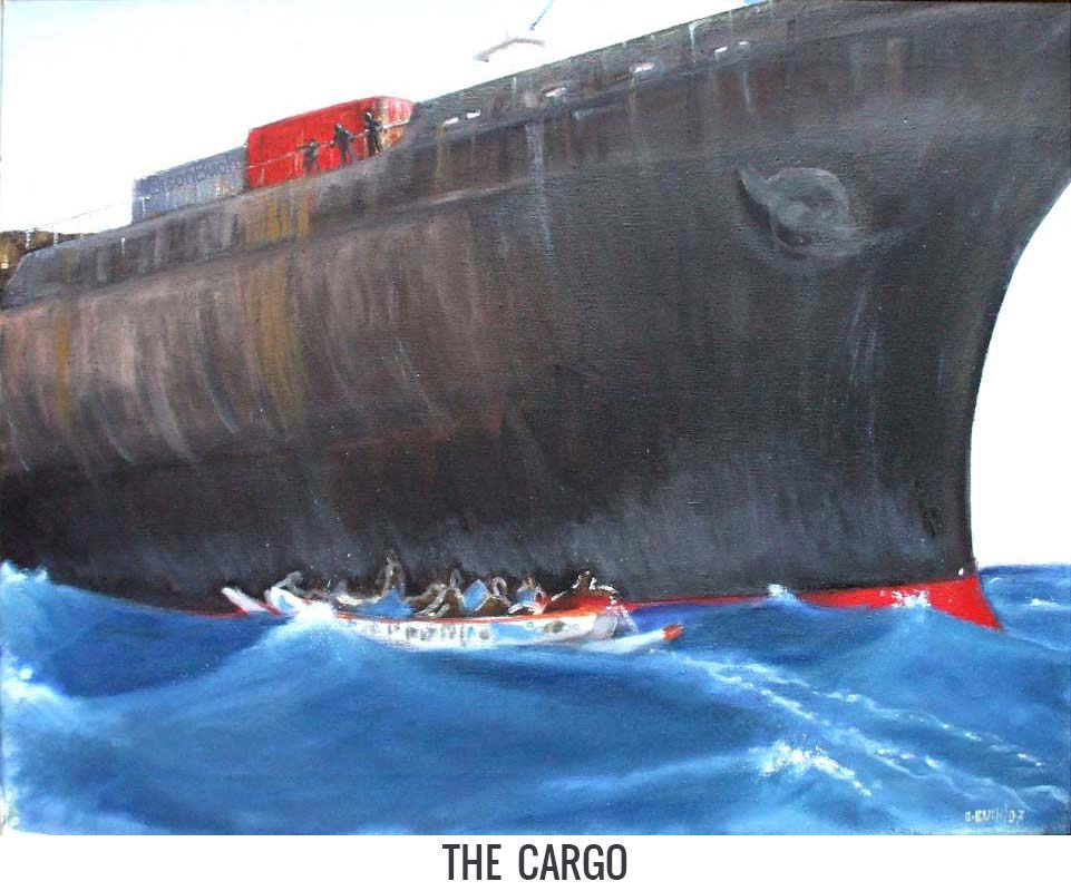 The cargo, Orson Buch's oil on canvas