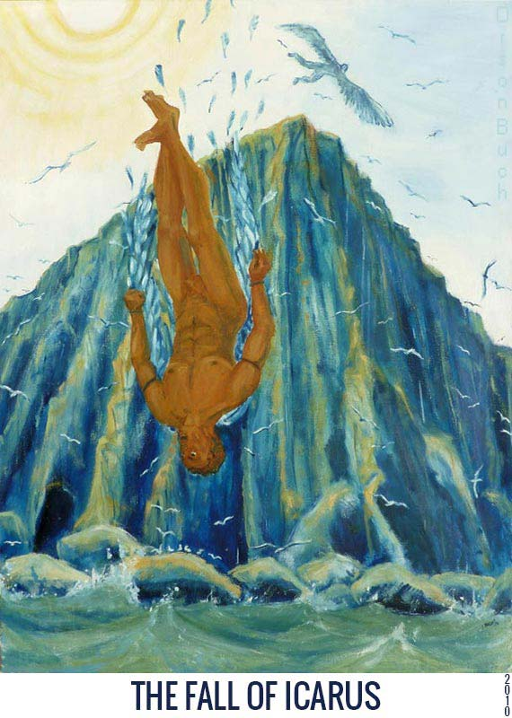 The fall of Icarus, Orson Buch's oil on canvas