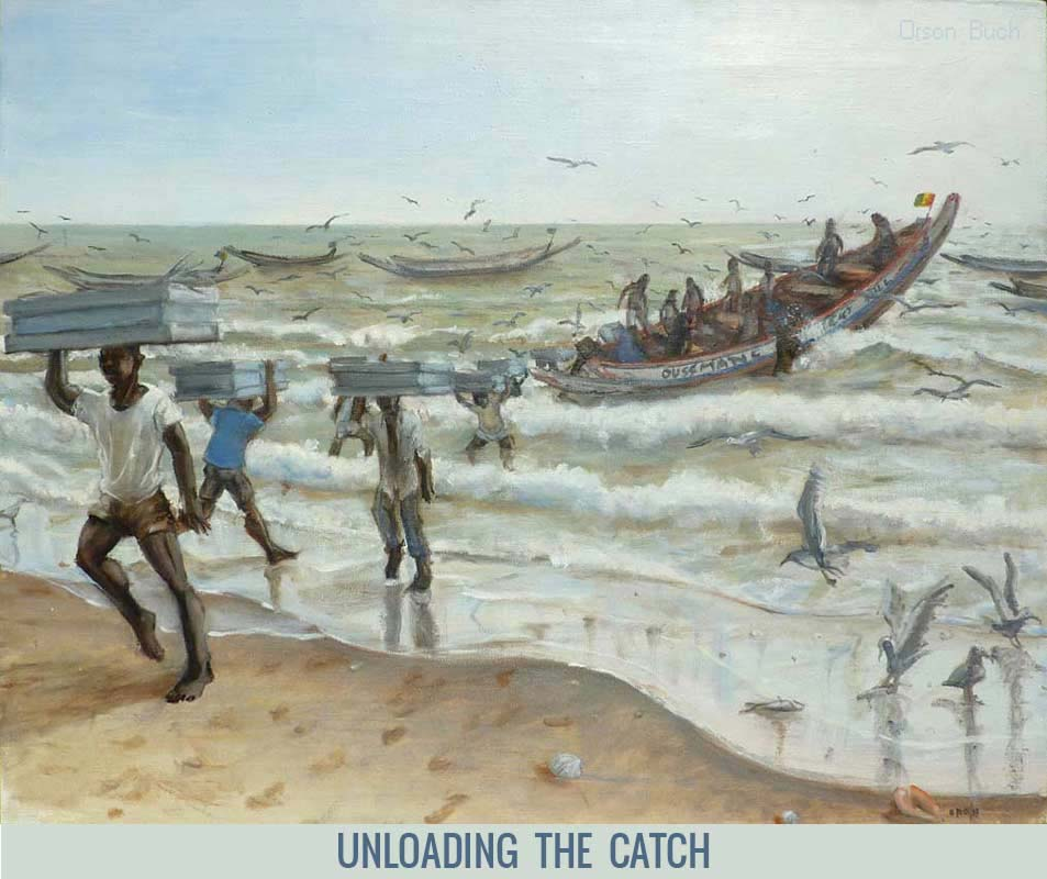 Unloading the catch, Orson Buch's oil on canvas