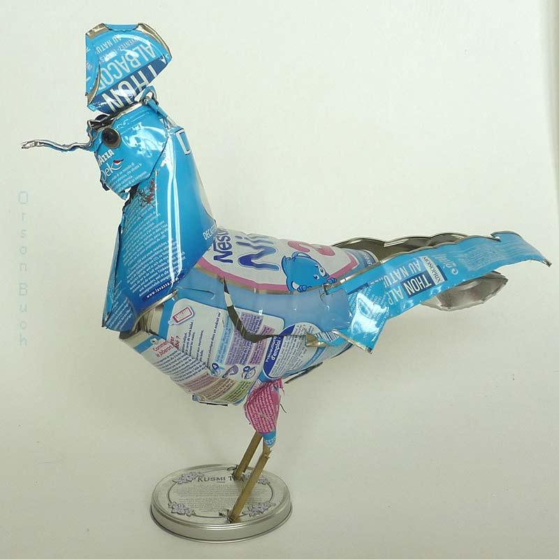 Blue Bird, Orson Buch's tin can sculpture