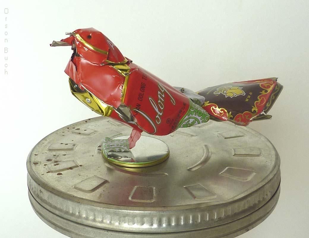 Oolong Bird, Orson Buch's tin can sculpture