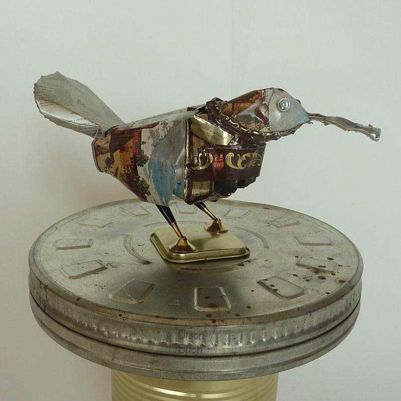 Secretary Bird, Orson Buch's tin can sculpture