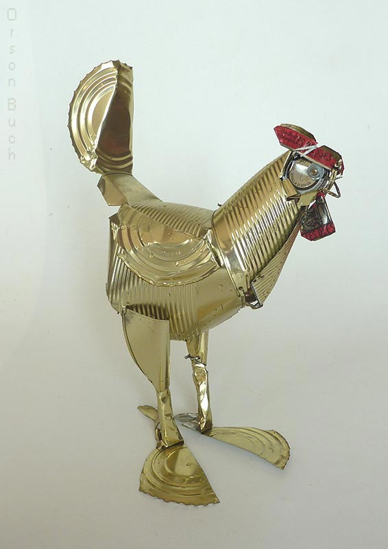 Yellow Rooster, tin can art, Orson Buch's sculpture